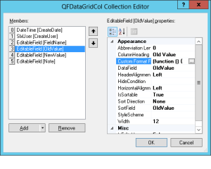 Infor CRM EditableGrid Columns Collection