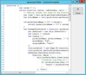 Infor CRM EditableGrid Columns Format Code Editor