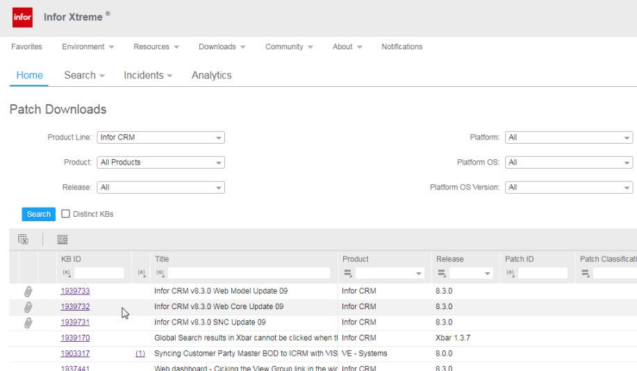 Infor CRM v8.3 Update 09