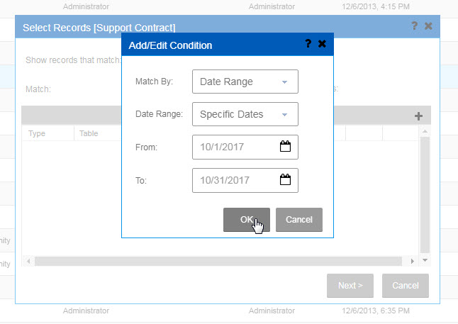 Infor CRM Reports Add Edit Condition