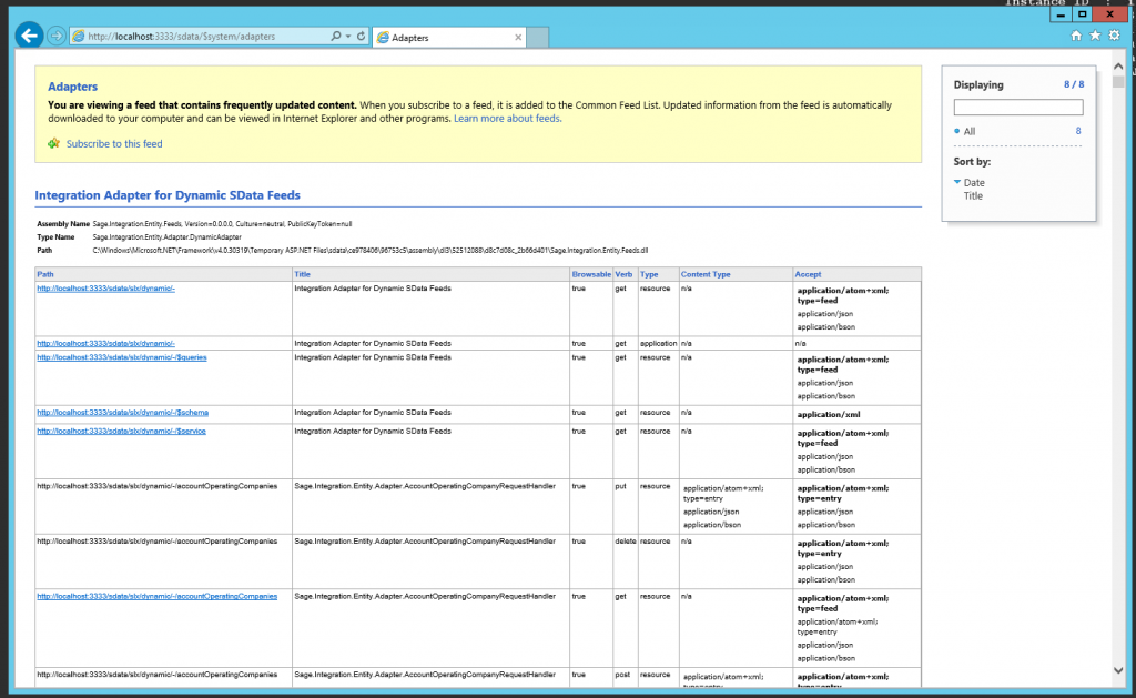 Adapter feed from Infor CRM SData portal