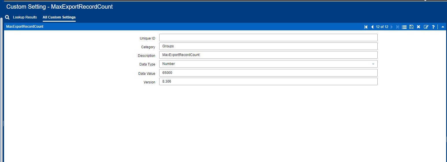 Infor CRM Custom Setting MaxExportRecordCount