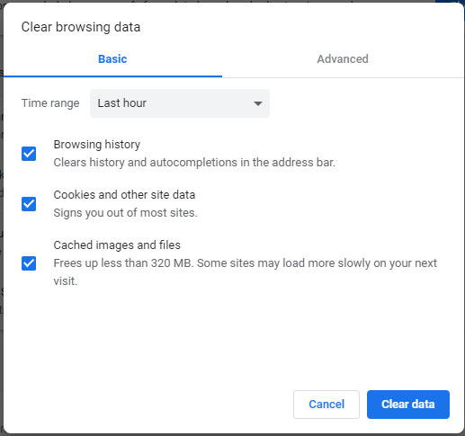 Chrome - clear cache