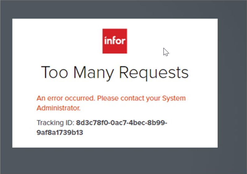 Infor CRM Too Many Requests Error