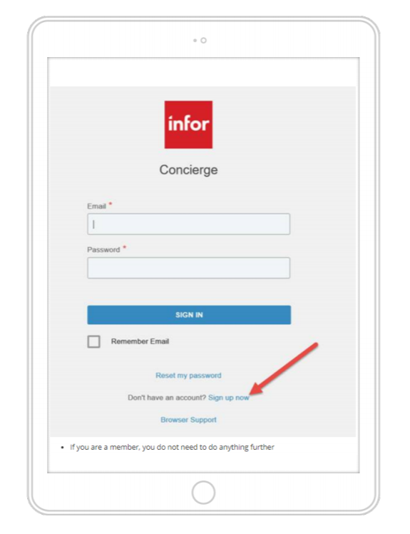 Infor Concierge login screen