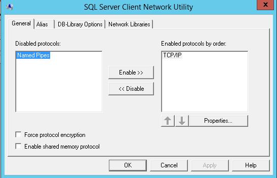 SQL Server enabled protocols