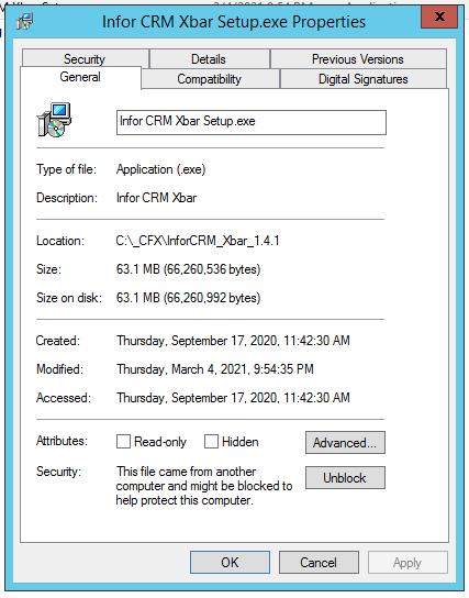 Xbar Install Blocked