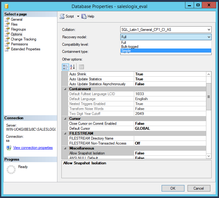 Select SQL recovery model